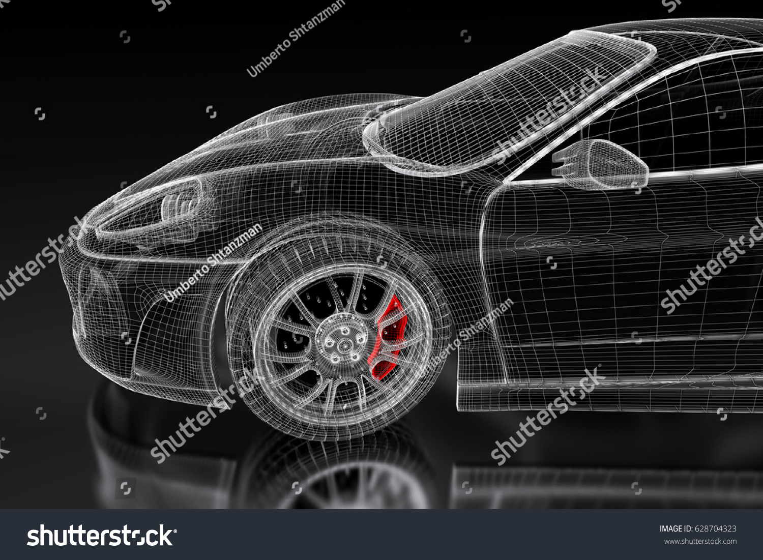 3 d sport car vehicle blueprint model stock illustration royalty 3d sport car vehicle blueprint model with a red brake caliper on a black background malvernweather Gallery