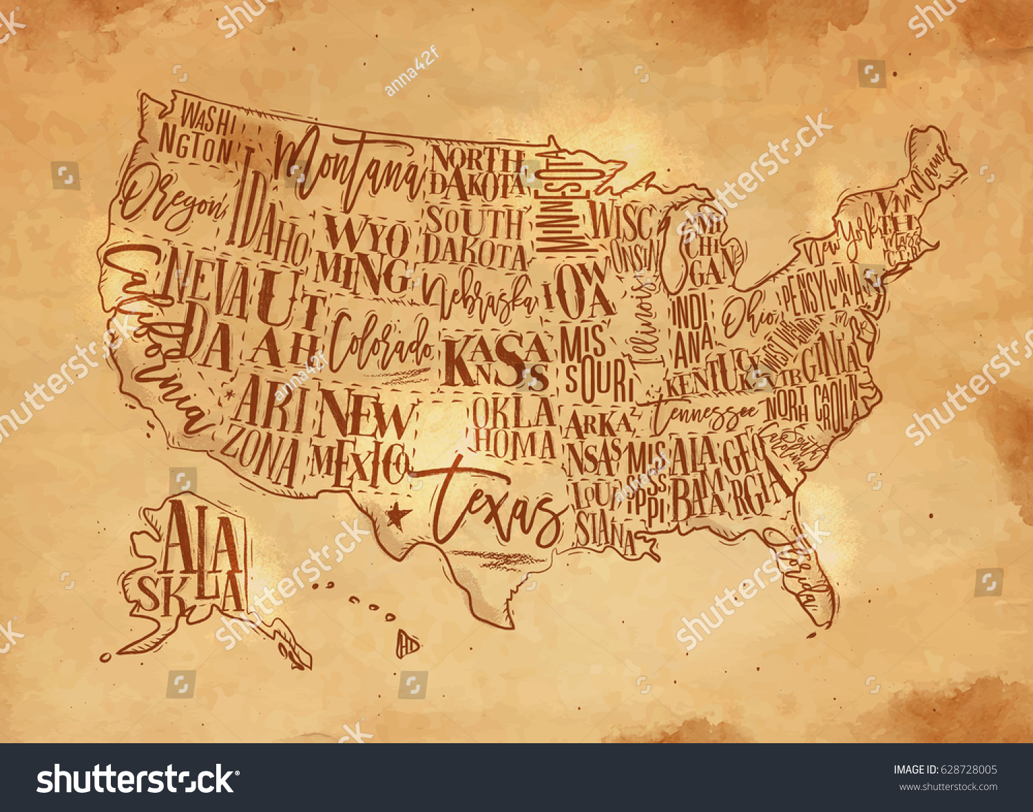 Vintage Usa Map States Inscription California Stock Vector - Map of nevada and arizona usa