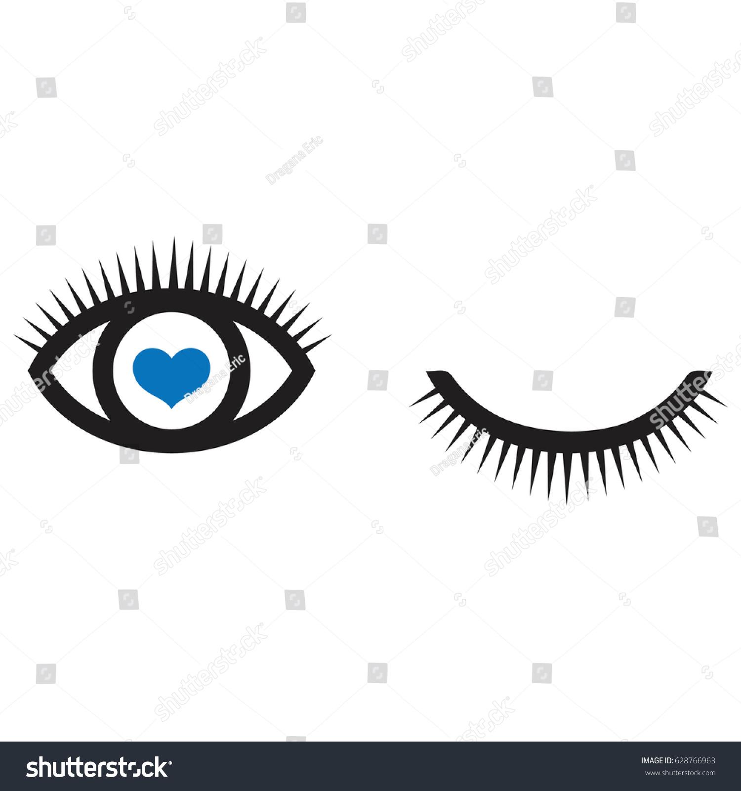 Eyes Eyelashes Icon Vector Red Hearteye Stock Vector Royalty Free
