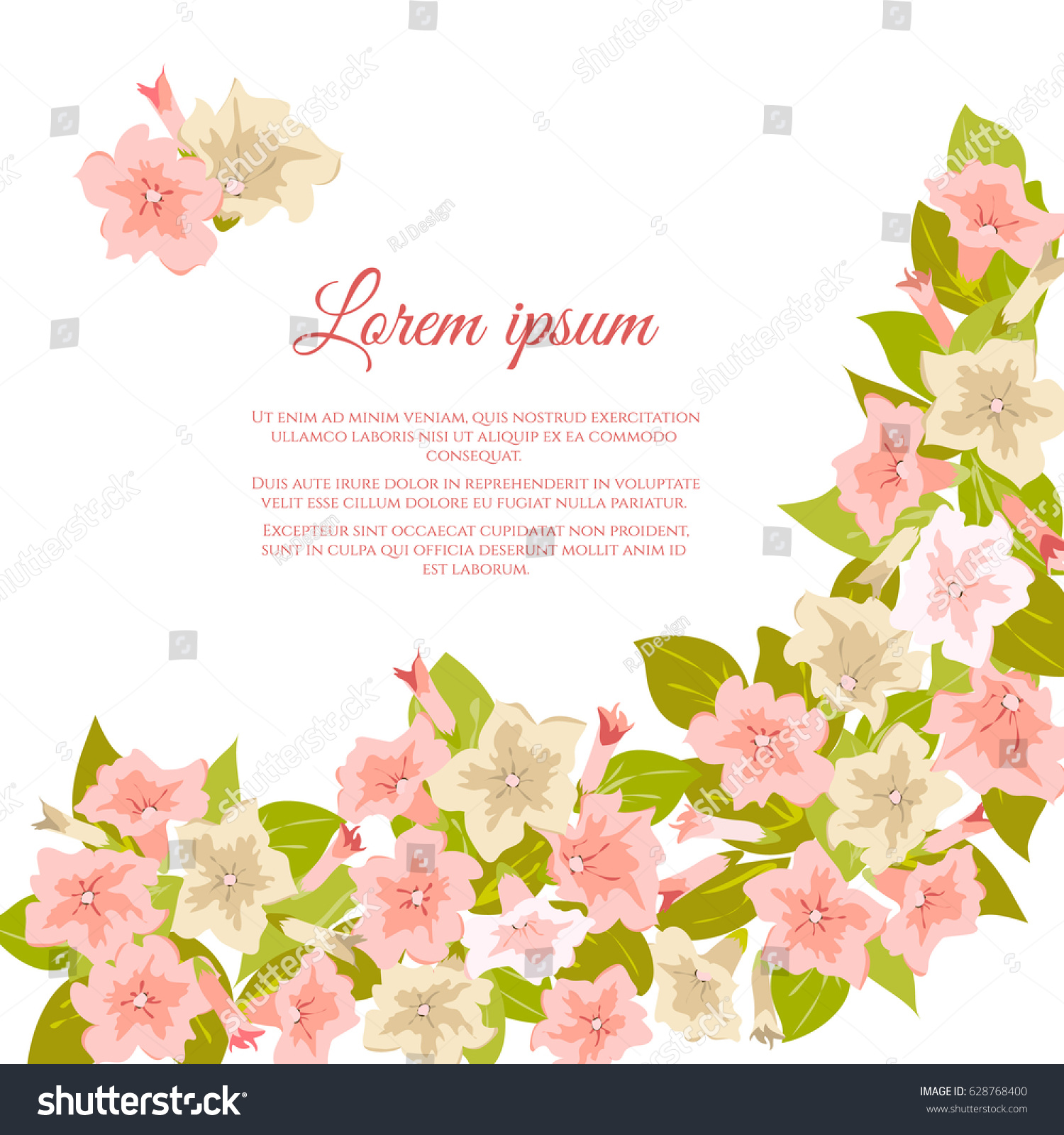 Pink Vintage Flowers Banner Copy Space Stock Vector Royalty Free