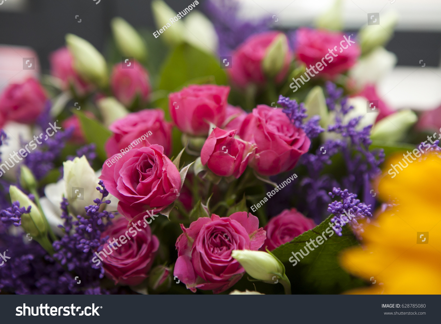 Spring Bouquet Of Red Rose Lisianthus And Lilac A For A Special