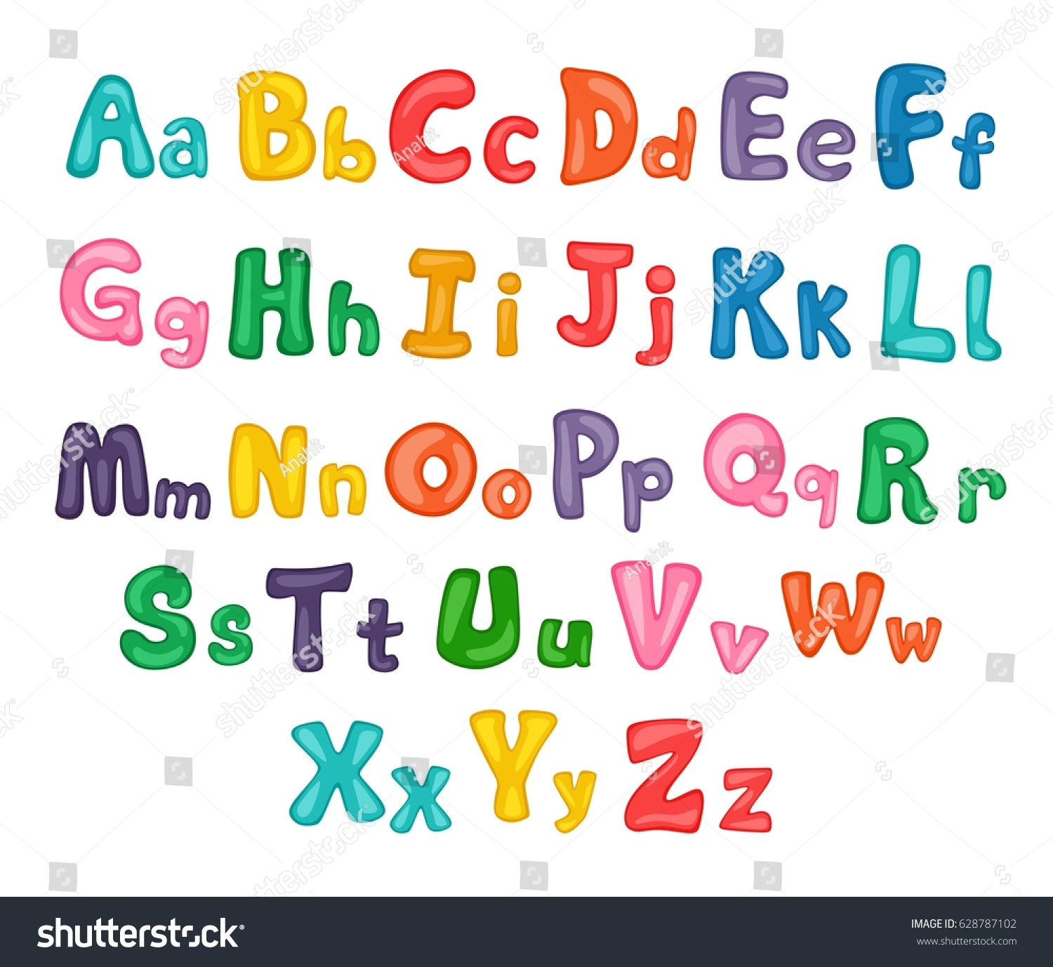 Cartoon Alphabet Illustrated Uppercase Lowercase Letters Stock