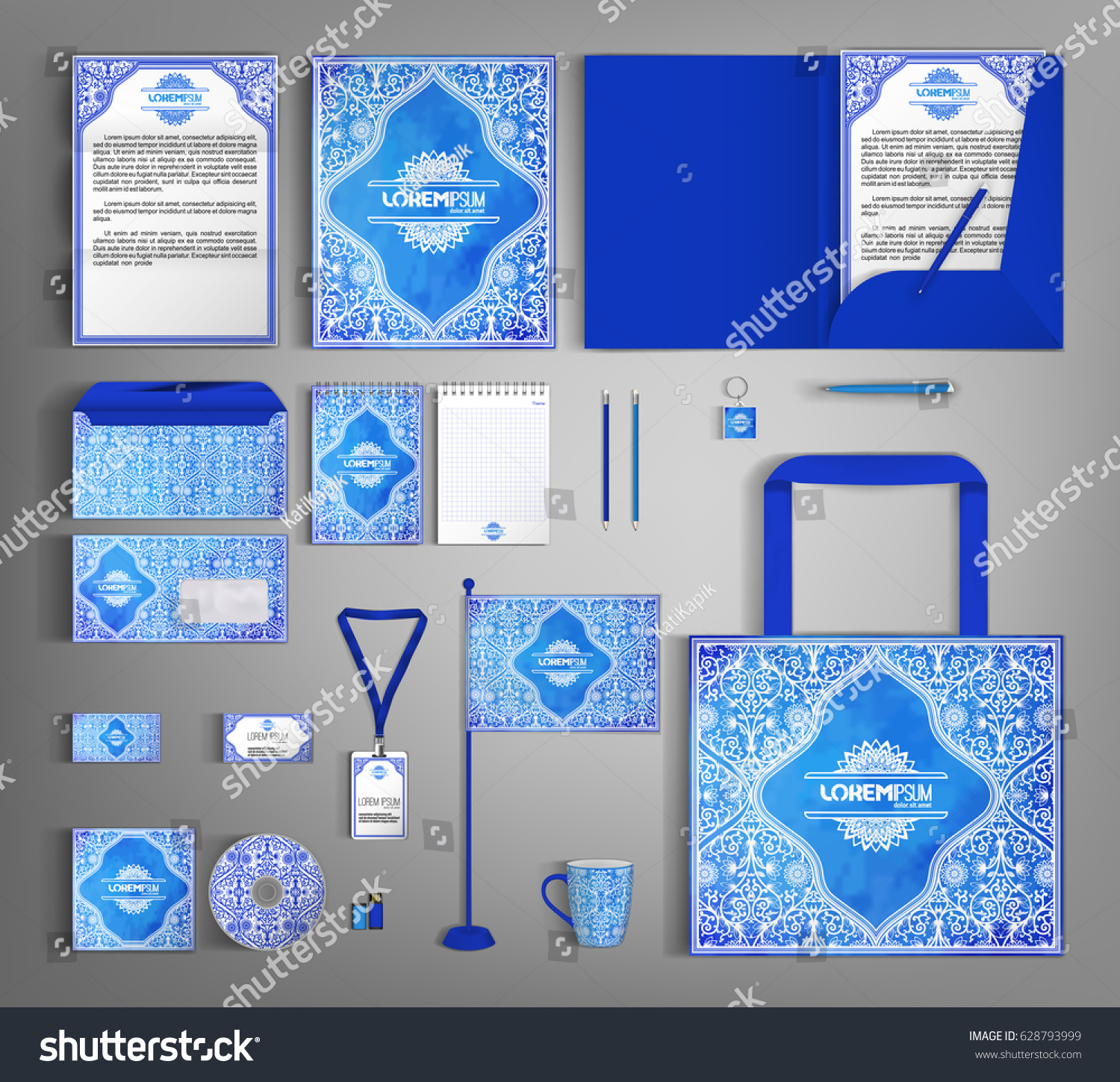 Luxurious Blue Corporate Identity Template Floral Stock Vector