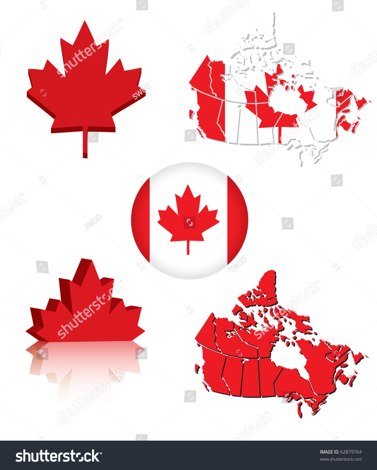 collection canadian flag symbols eps10 vector stock vector