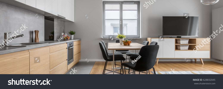 Modern Apartment Open Wood Kitchen Table Stock Photo 628832045 ...