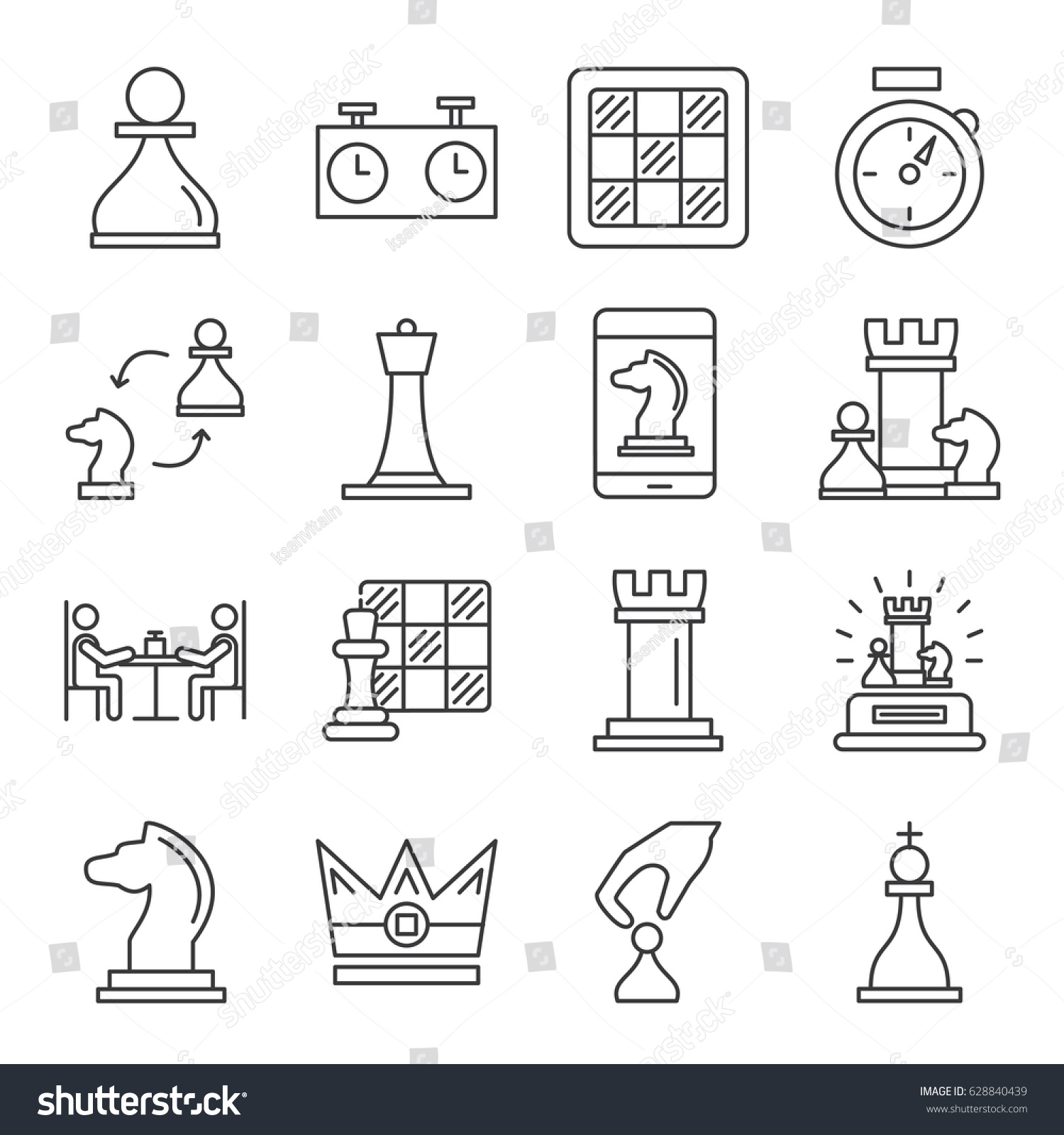 Set Chess Related Vector Line Icons Stock Royalty Free Checkmate Diagram Puzzle From The Of Includes Such As Game Pawn Board