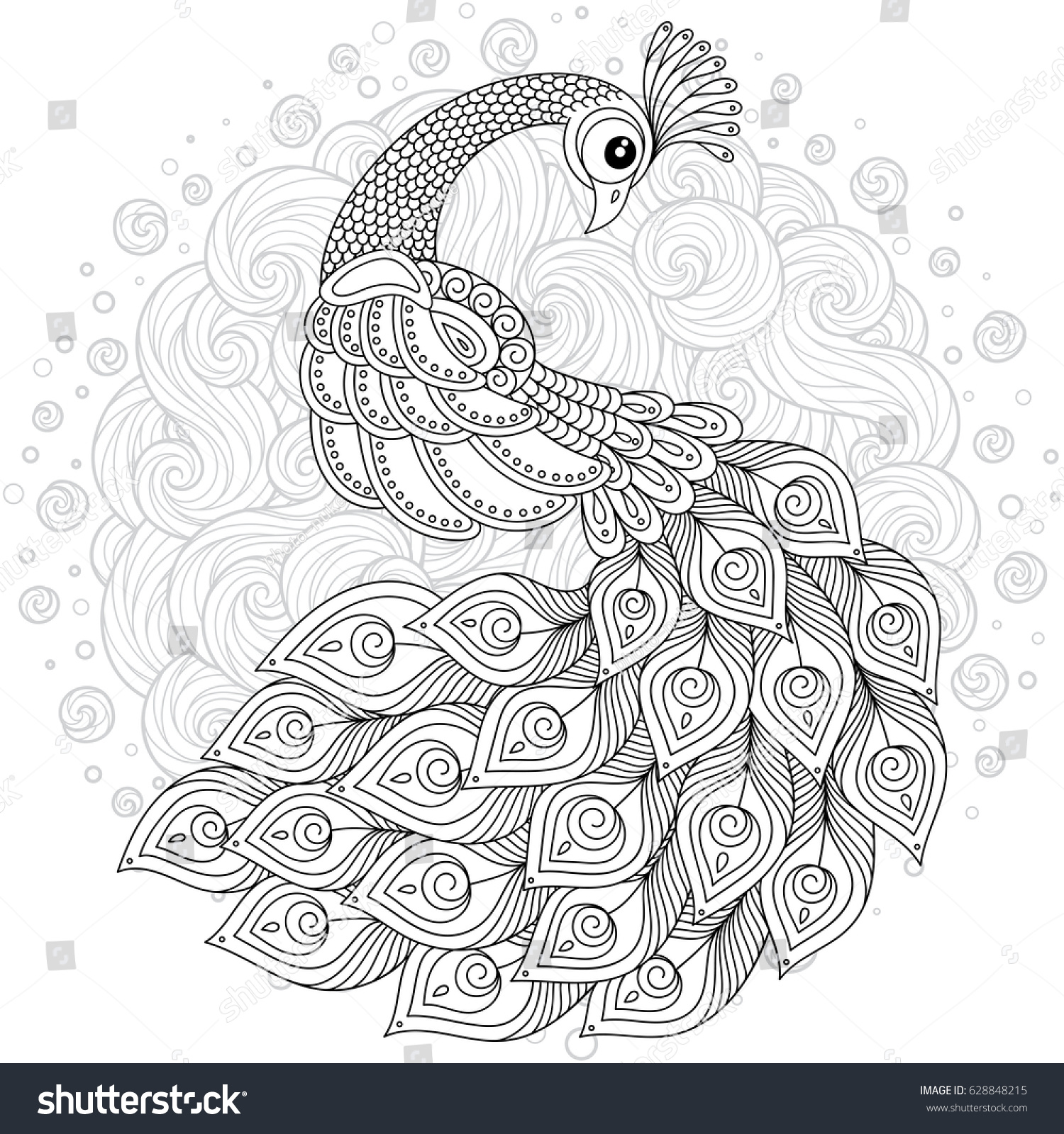 adult coloring pages peacock Hand Drawing Artistic Peacock Adult Coloring Stock Vector (Royalty  adult coloring pages peacock