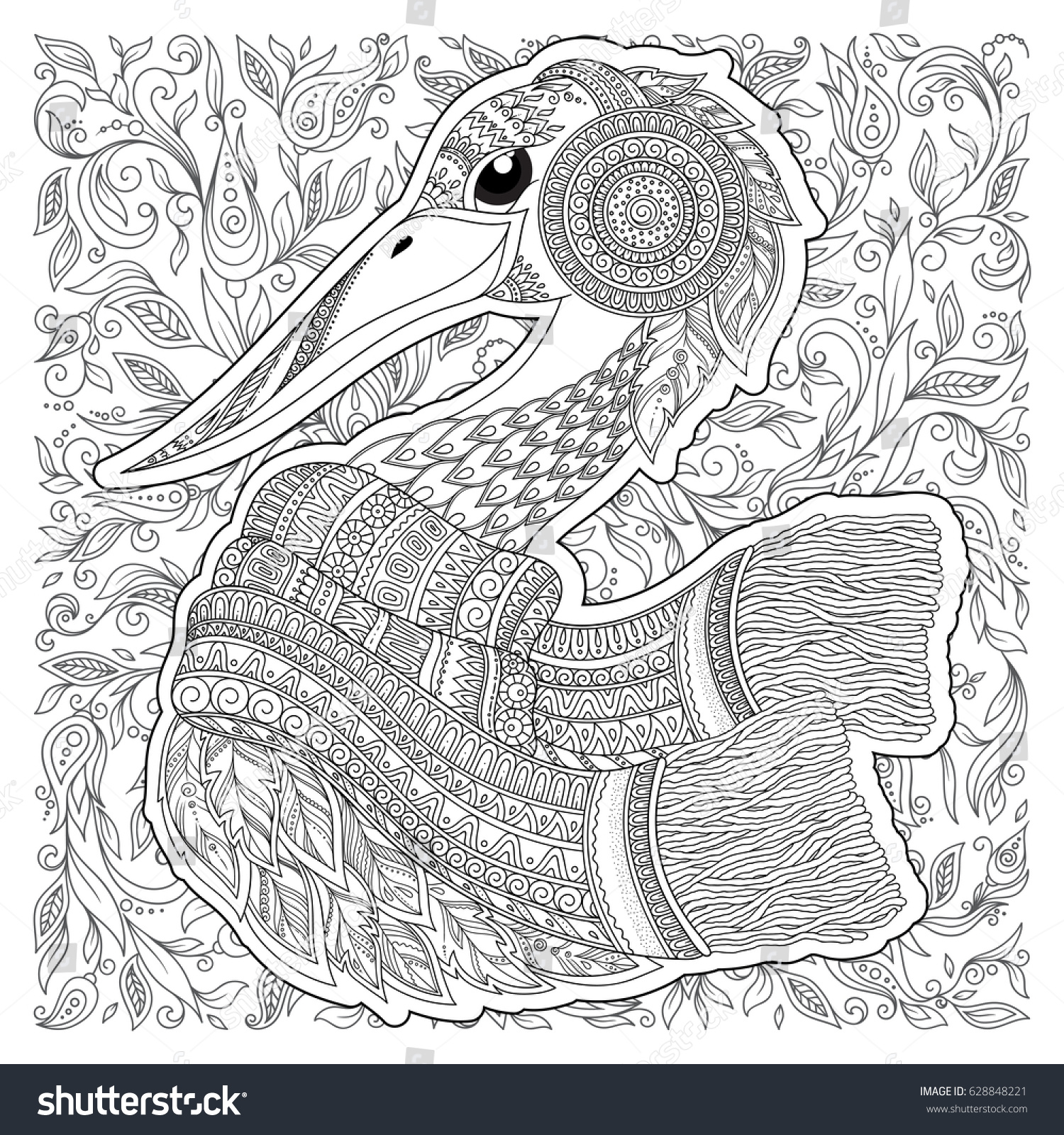 Zentangle Hand Drawn Stork Adult Anti Stock Vector