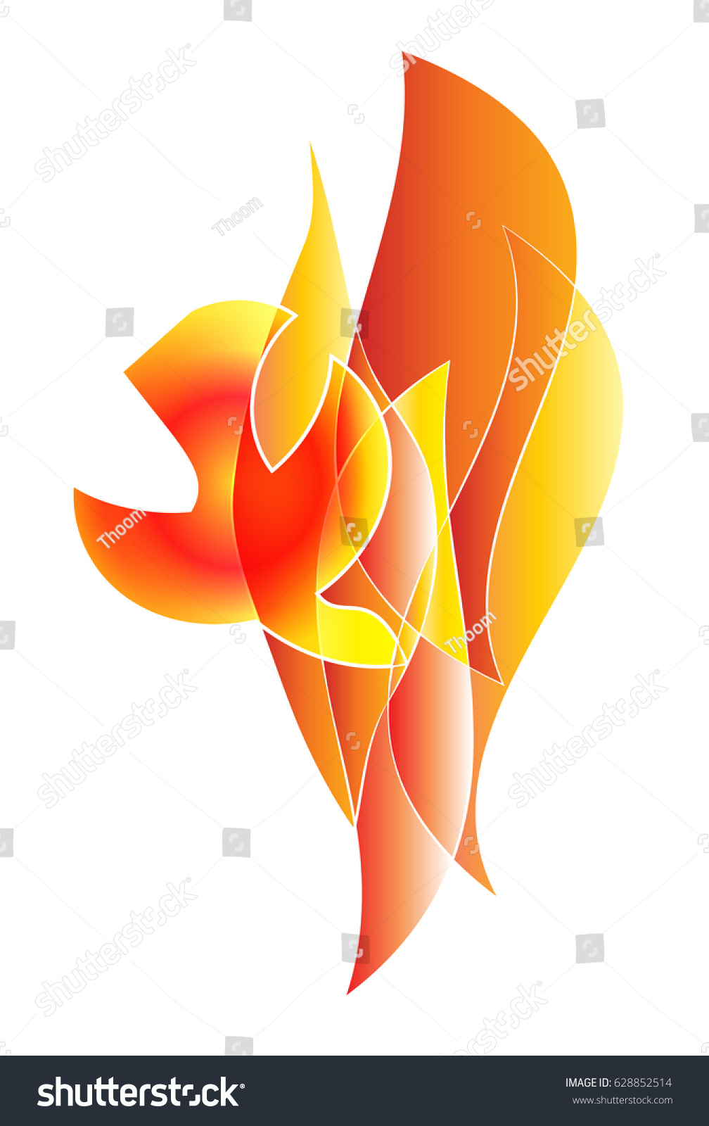 Holy Spirit Pentecost Symbol Dove Flames Stock Vector Royalty Free