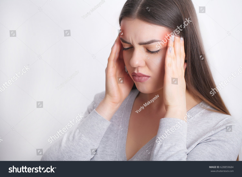Beautiful Woman Feeling Sick Having Headache Painful Body Pain