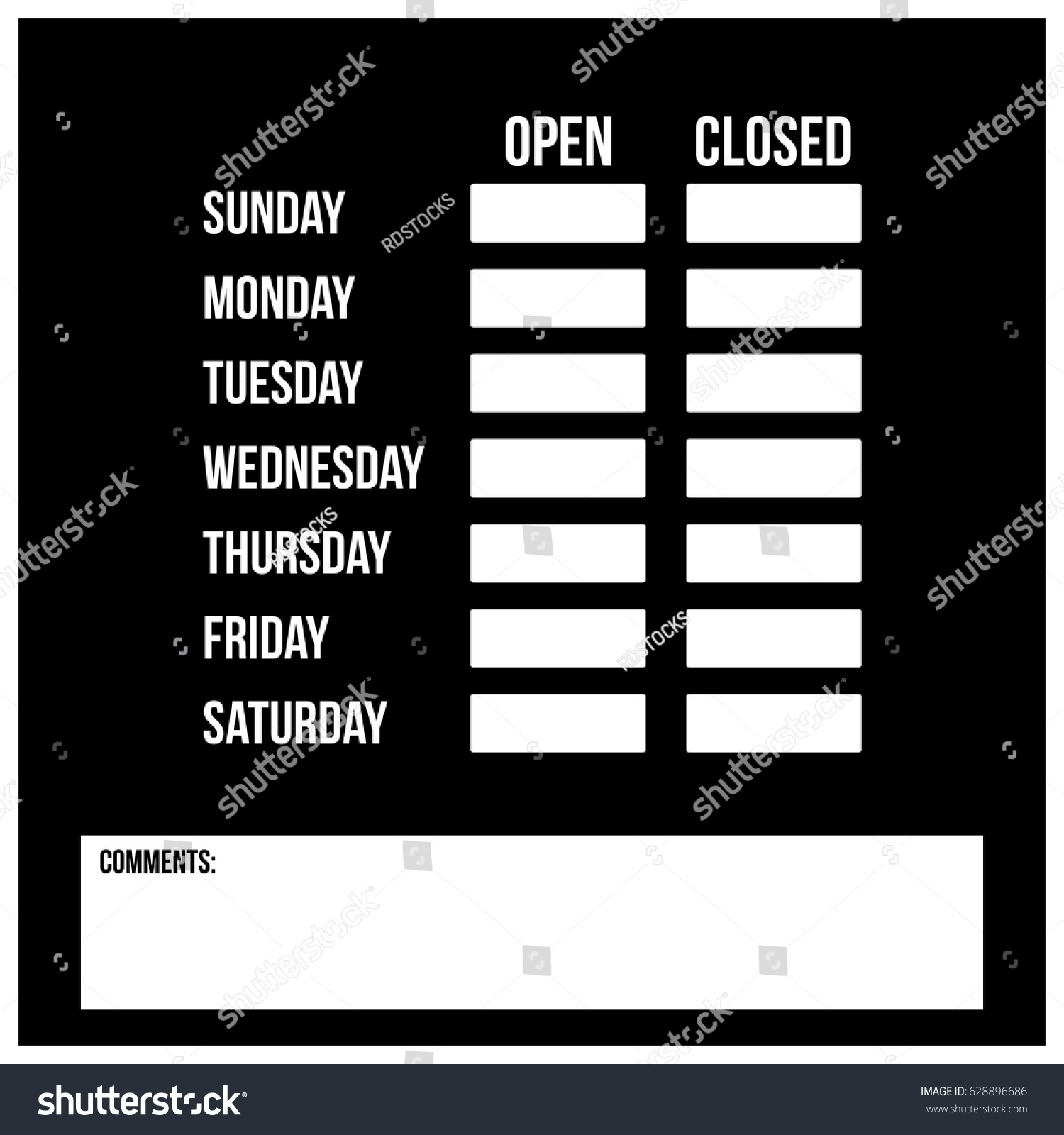 clean black white store schedule template stock vector royalty free