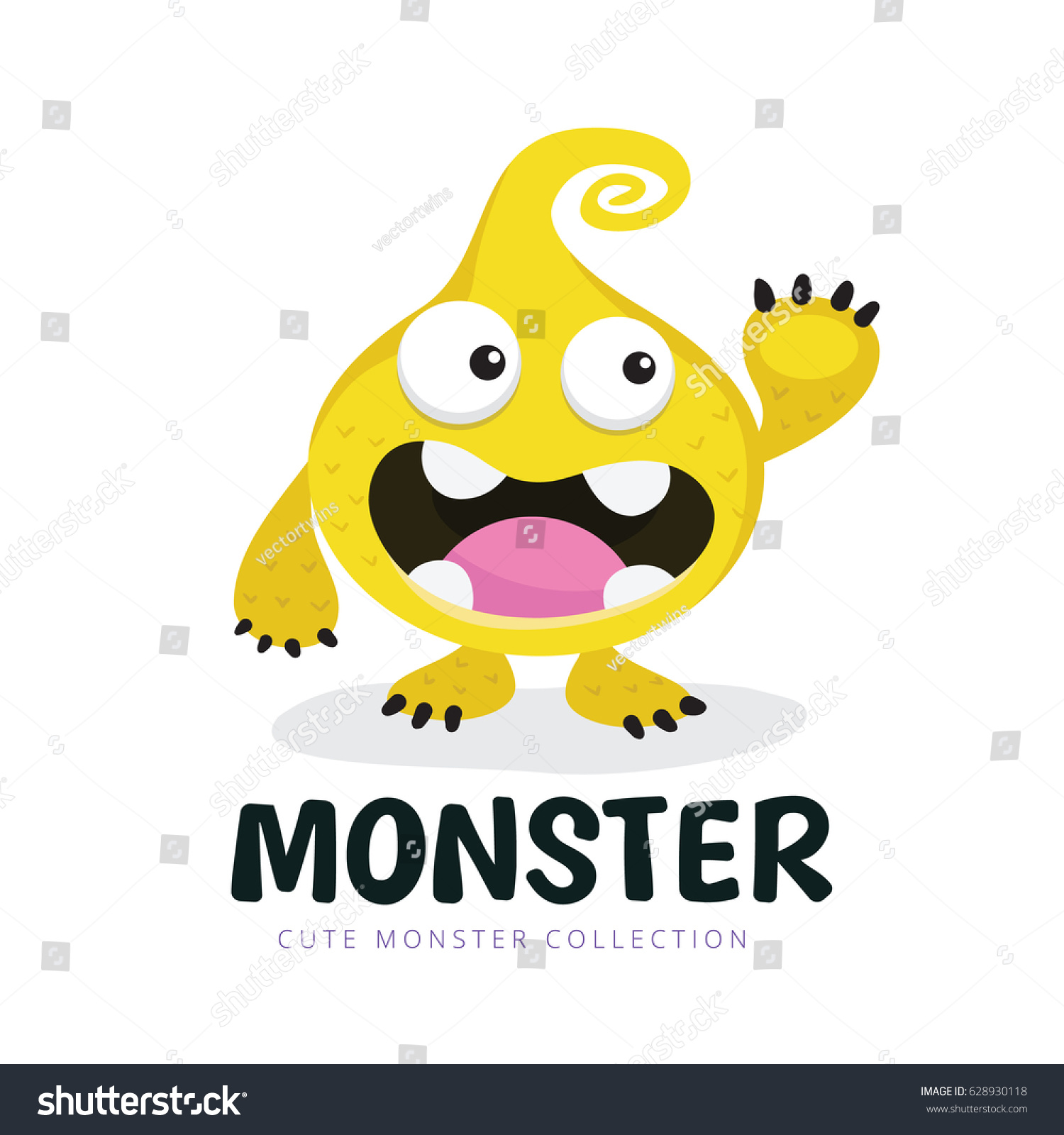 cute monster logo template stock vector 628930118 shutterstock. Resume Example. Resume CV Cover Letter