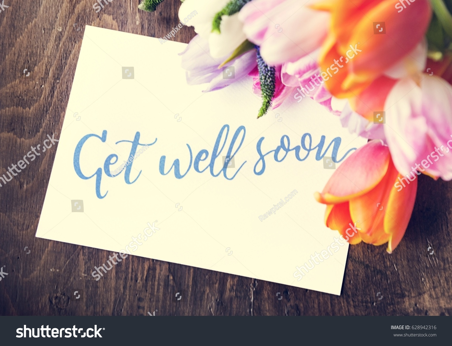 Tulips Flowers Bouquet Get Well Soon Stock Photo (Edit Now ...