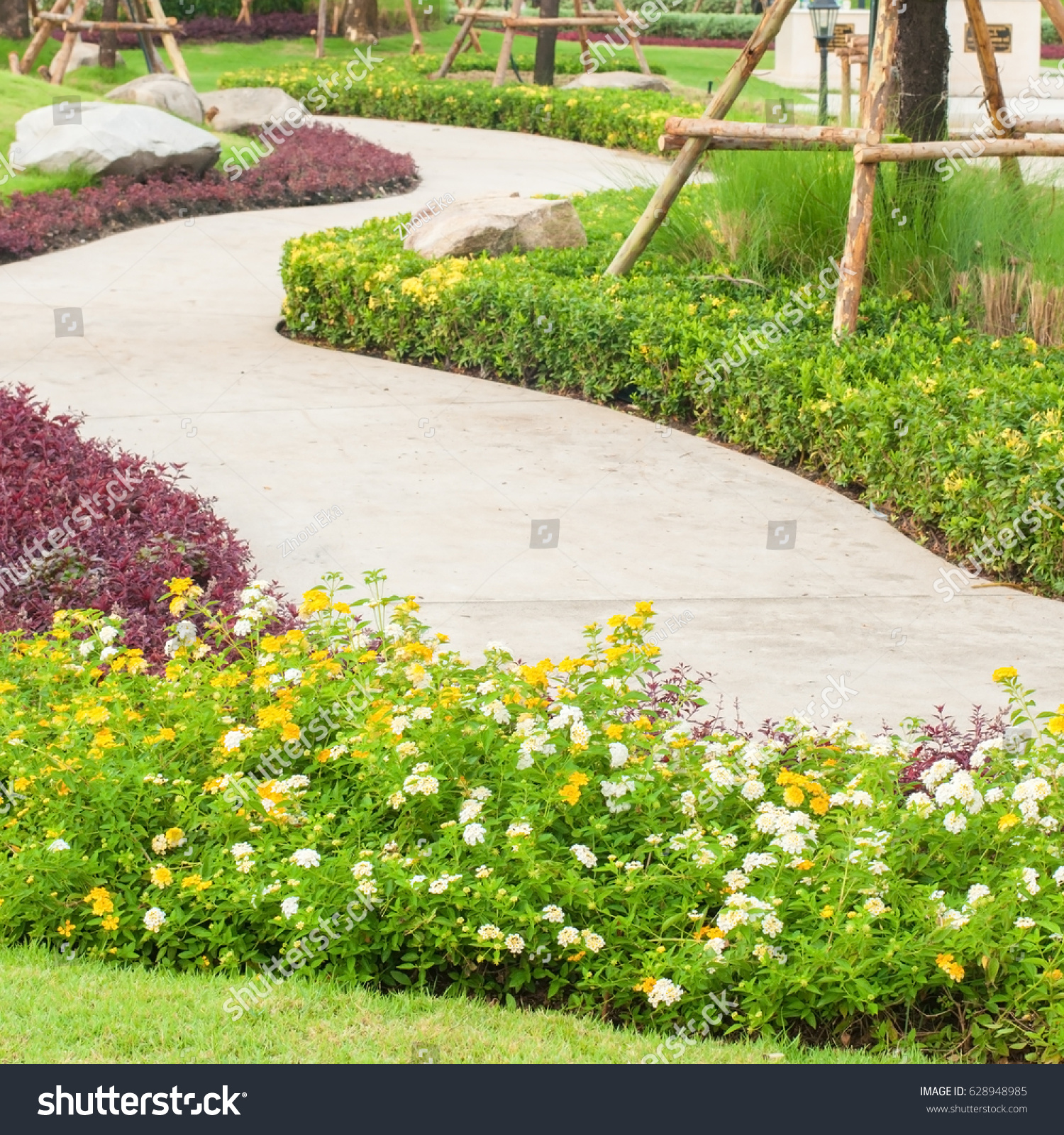 Beautiful Flower Park Curve Walk Way Stock Photo Royalty Free