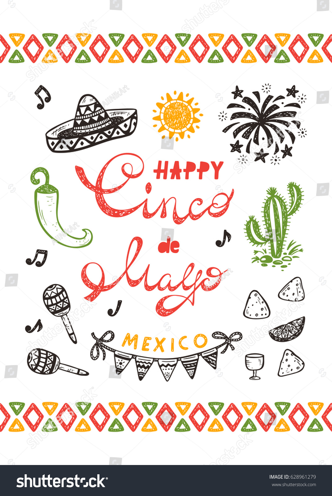 Mexico mexican holiday happy synco de stock vector 628961279 mexico mexican holiday happy synco de mayo vector greeting card with hand drawn doodle m4hsunfo Image collections