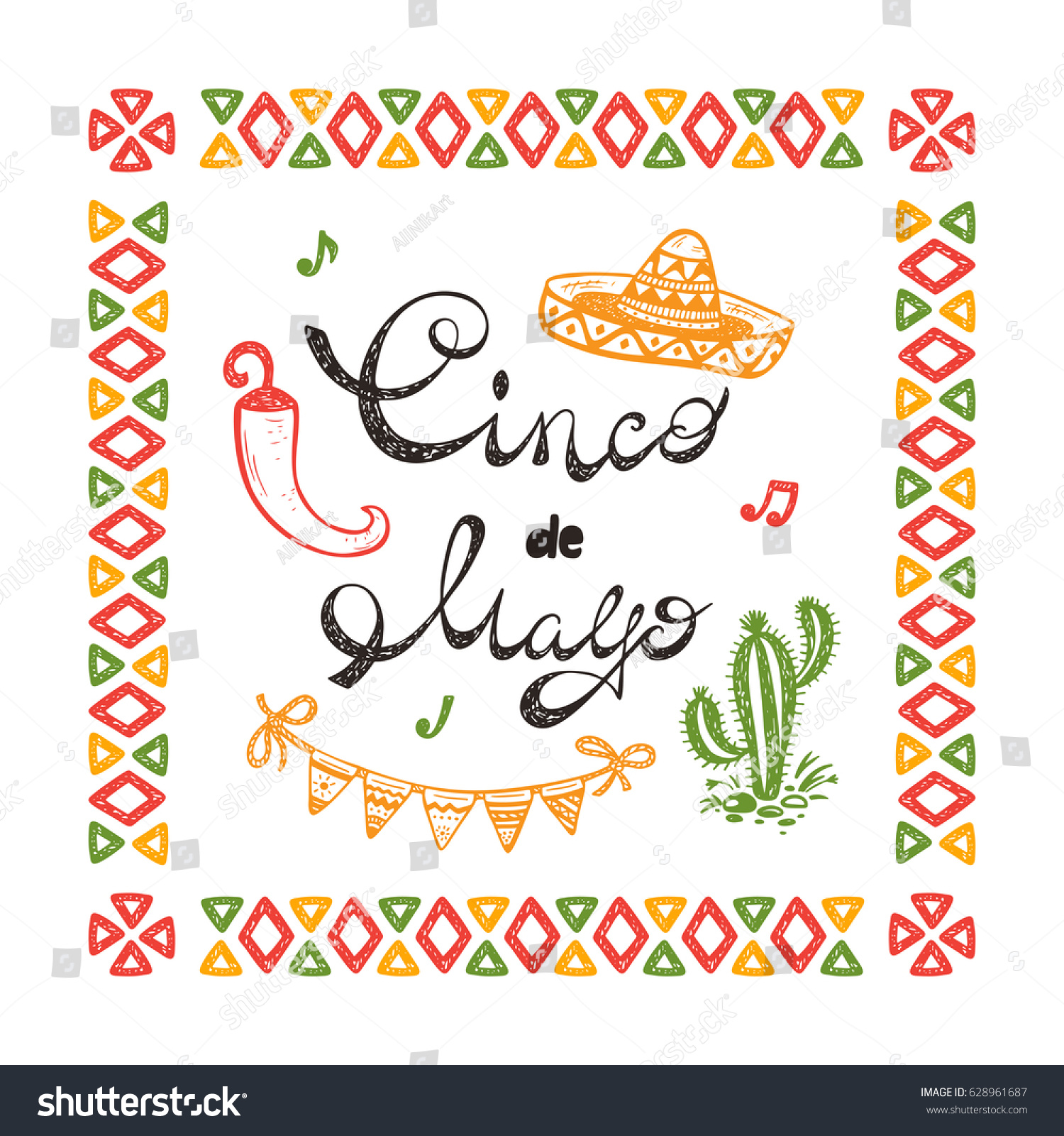 Mexico mexican holiday synco de mayo stock photo photo vector mexico mexican holiday synco de mayo vector greeting card with hand drawn doodle sombrero m4hsunfo