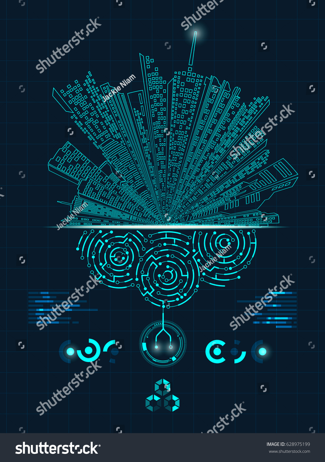 Concept Digital City Graphic Buildings Combined Stock Vector Circuit Board Background Ai Free Graphics Download Of With