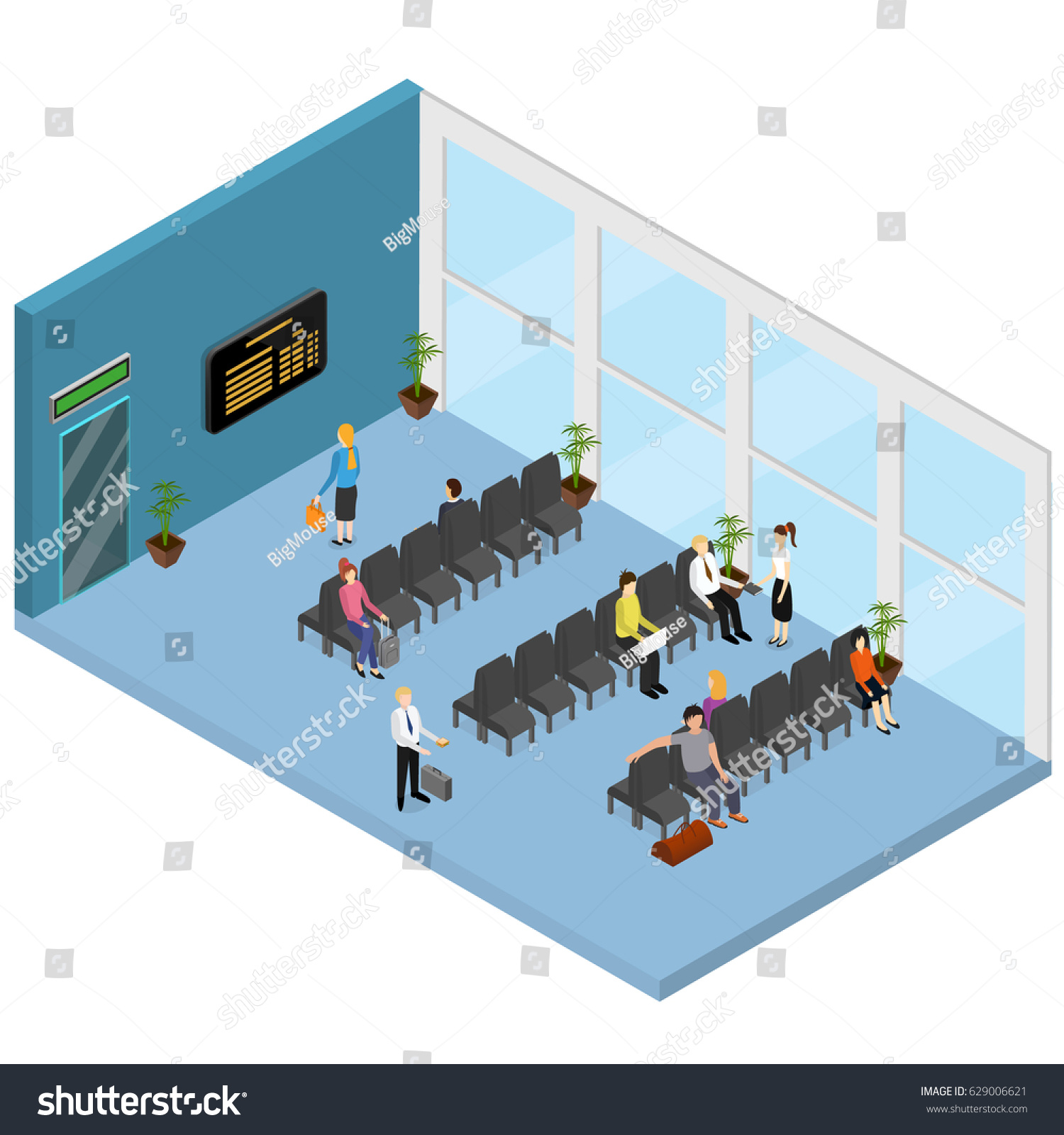 Waiting Hall Interior Isometric View Airport Stock Vector