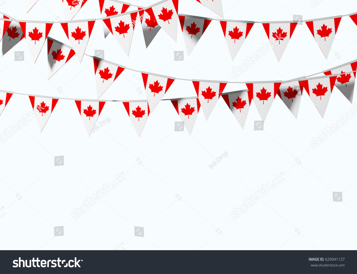 canada flag festive bunting against plain stock illustration