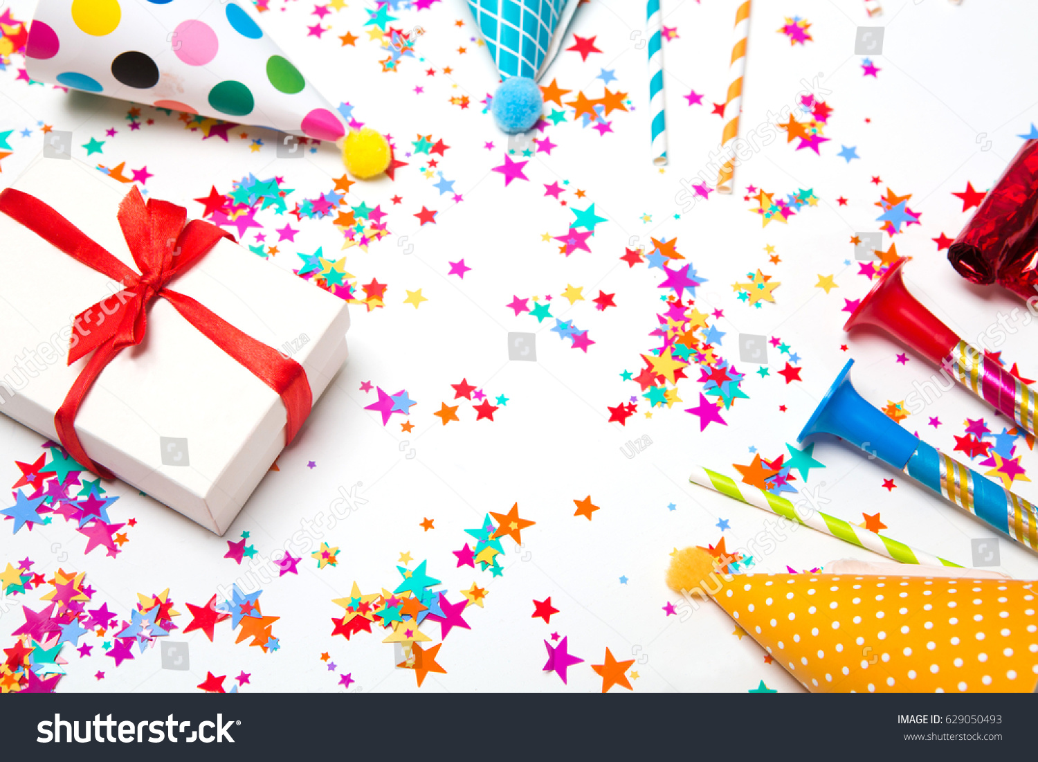 Children Party Background Birthday Colorful Frame With Cap And Whistle On A