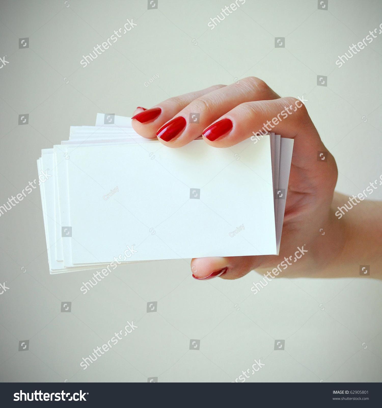 Blank Business Cards Elegant Female Hand Stock Photo 62905801 ...
