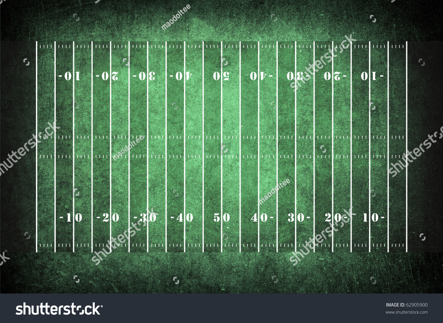 American Football Field With Football