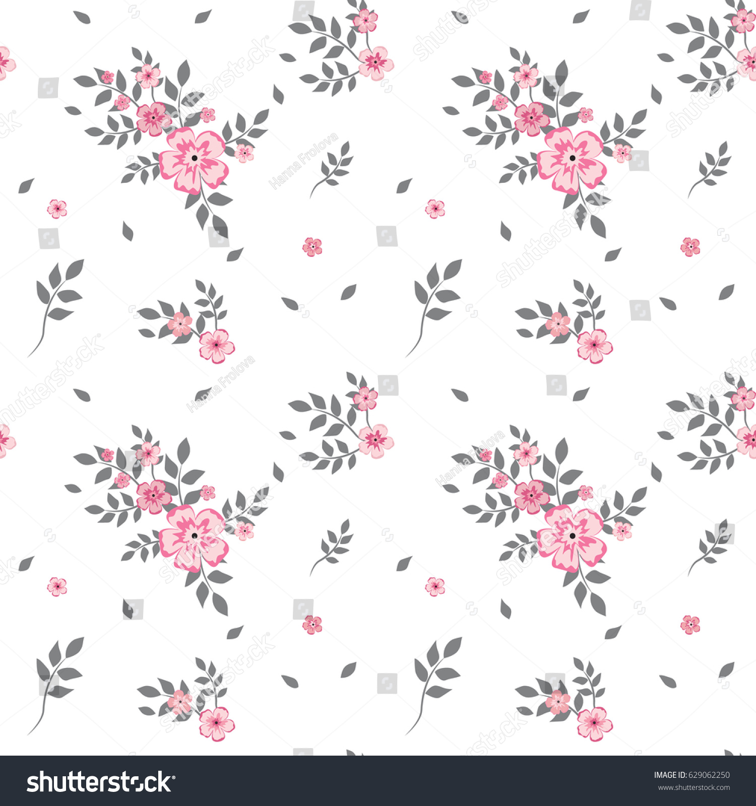 Drawing Small Pink Flower Gray Leaves Stock Vector Royalty Free