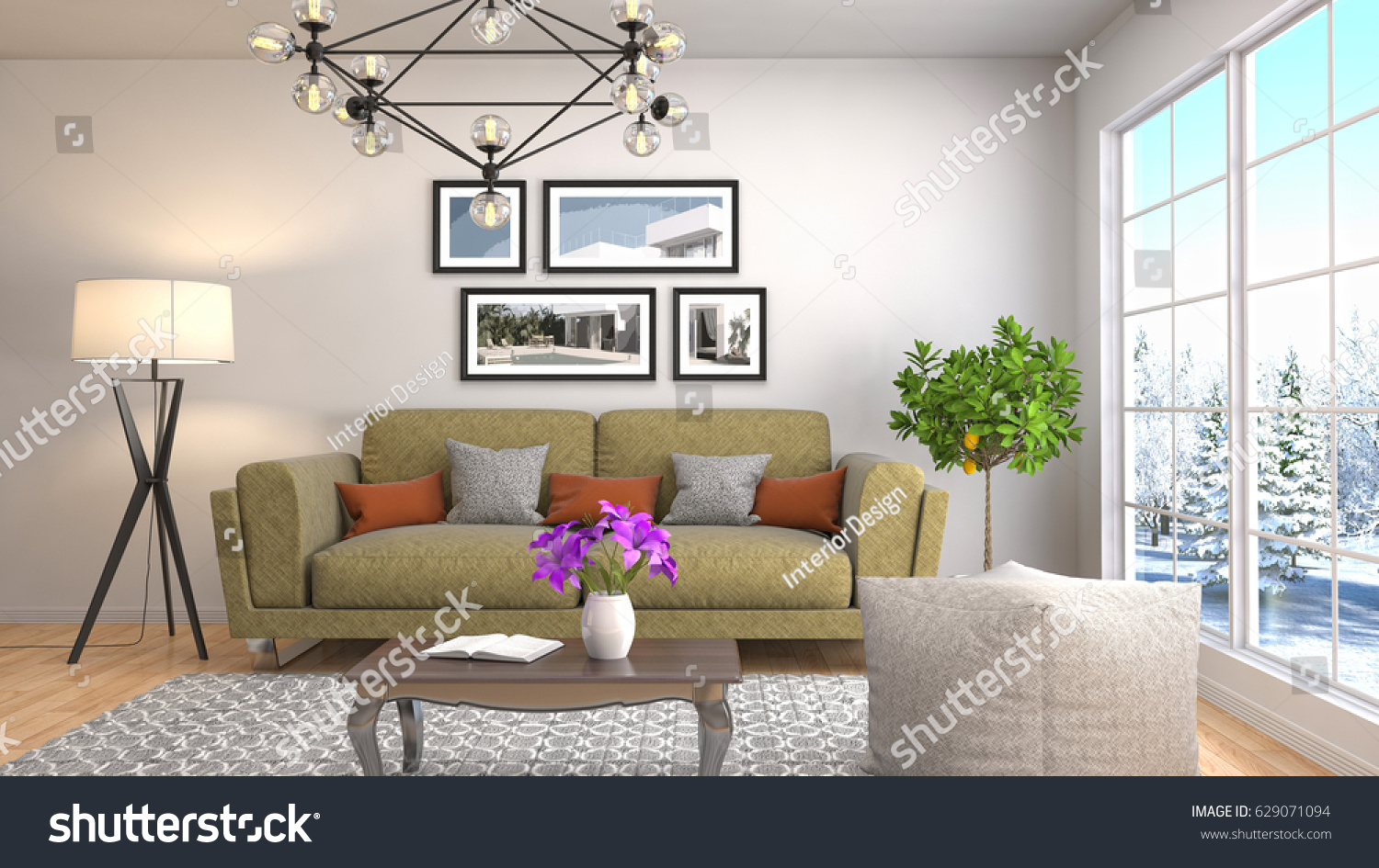 Interior living room. 3d illustration #629071094