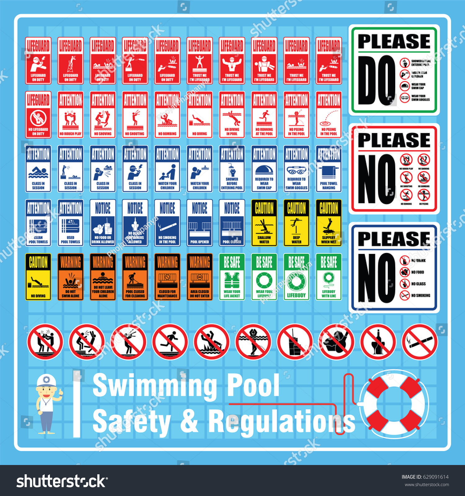 set labels signs swimming pool safety のベクター画像素材
