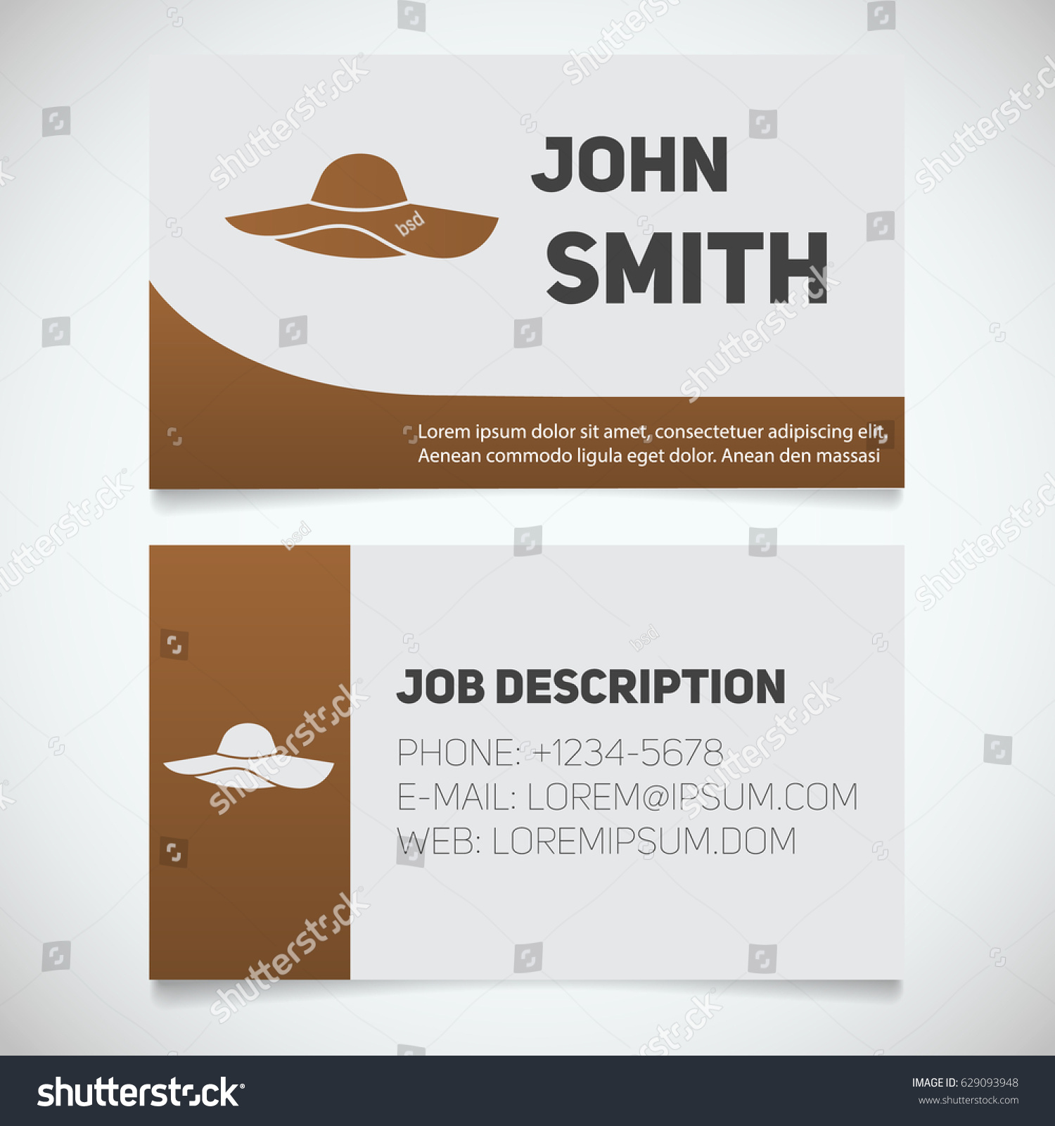 business card print template beach hat stock vector