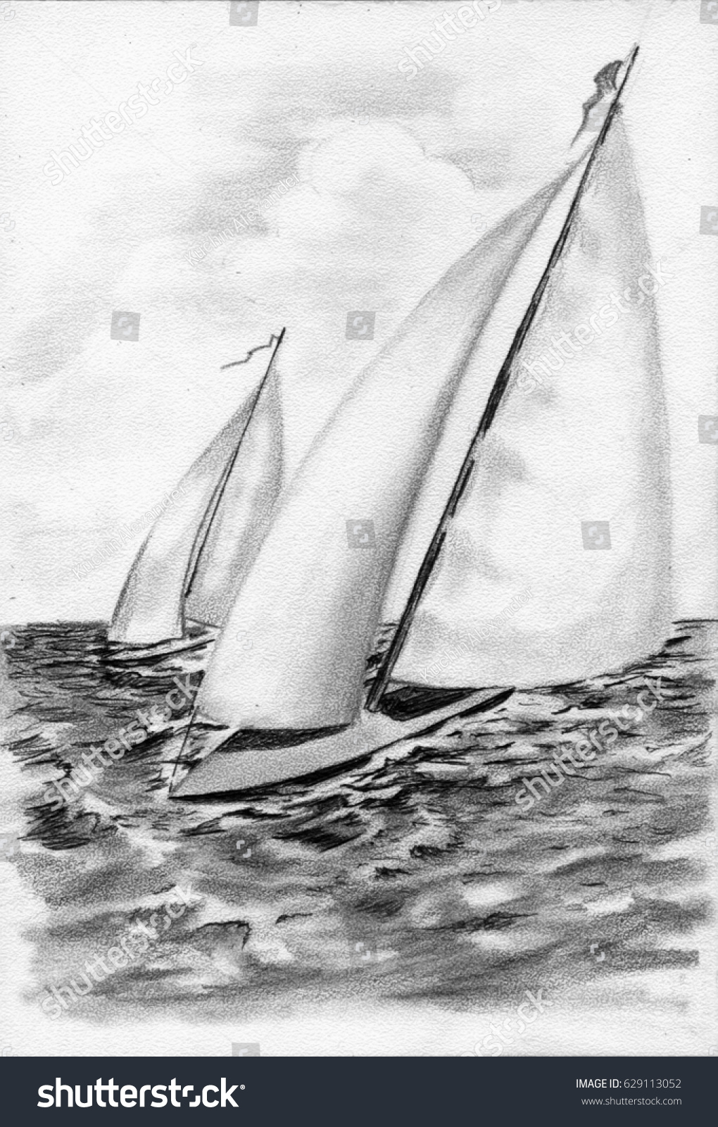 Sailing boats on sea pencil drawing black and white background