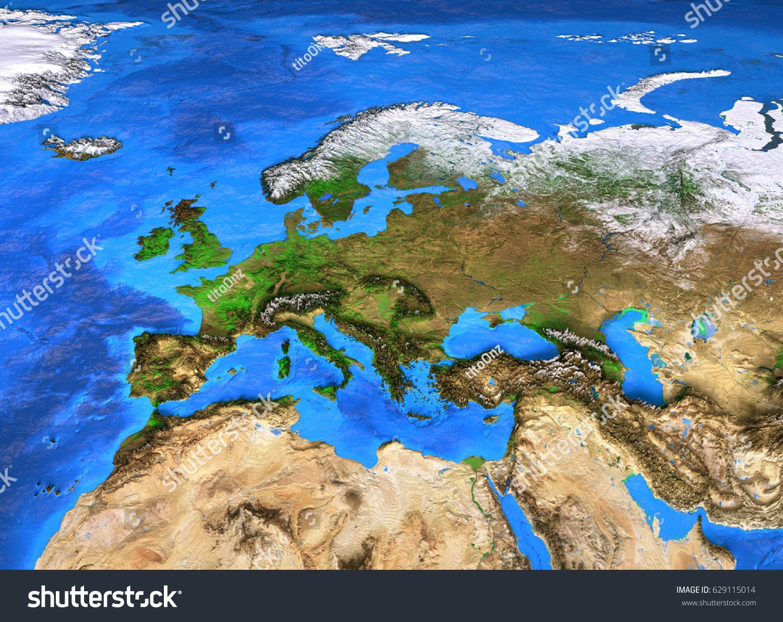 Europe Map Detailed Satellite View Earth Stock Illustration - Europe satellite map