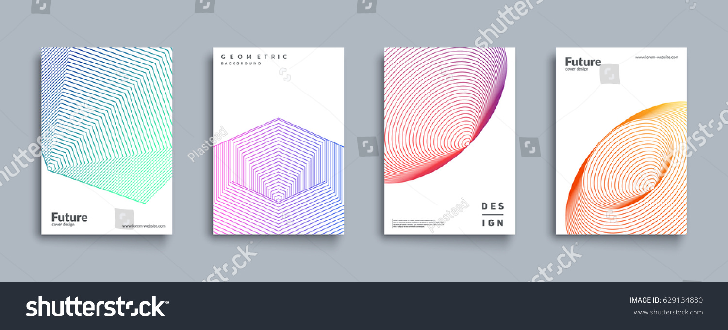 Minimal covers set. Future geometric design. Abstract 3d meshes. Eps10 vector. #629134880