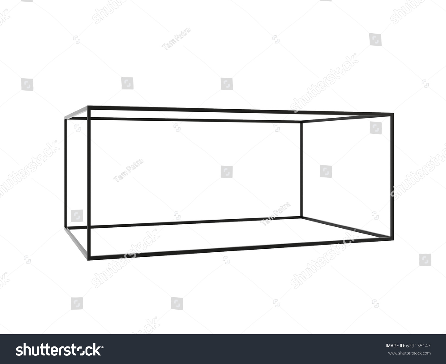 3d black empty box frame isolated on white background,
