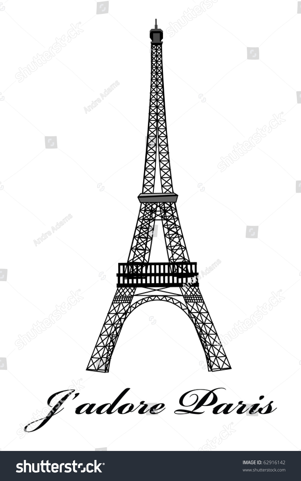 Cartoon Vector Outline Illustration Eiffel Tower Stock ...
