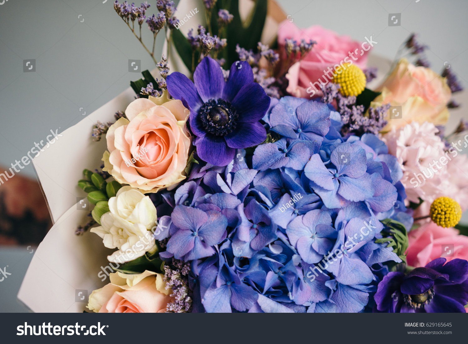 Blue Pink Bouquet Flowers Wrapped Paper Stock Photo Edit Now