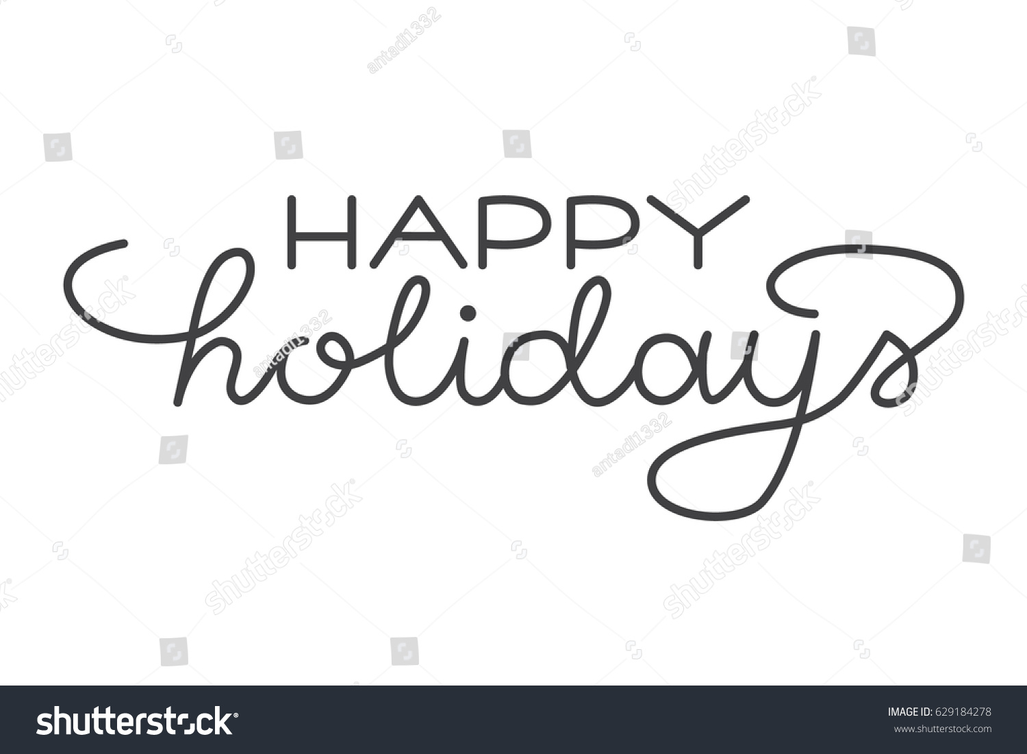 Happy Holidays Hand Lettering Hand Drawn Stock Vector