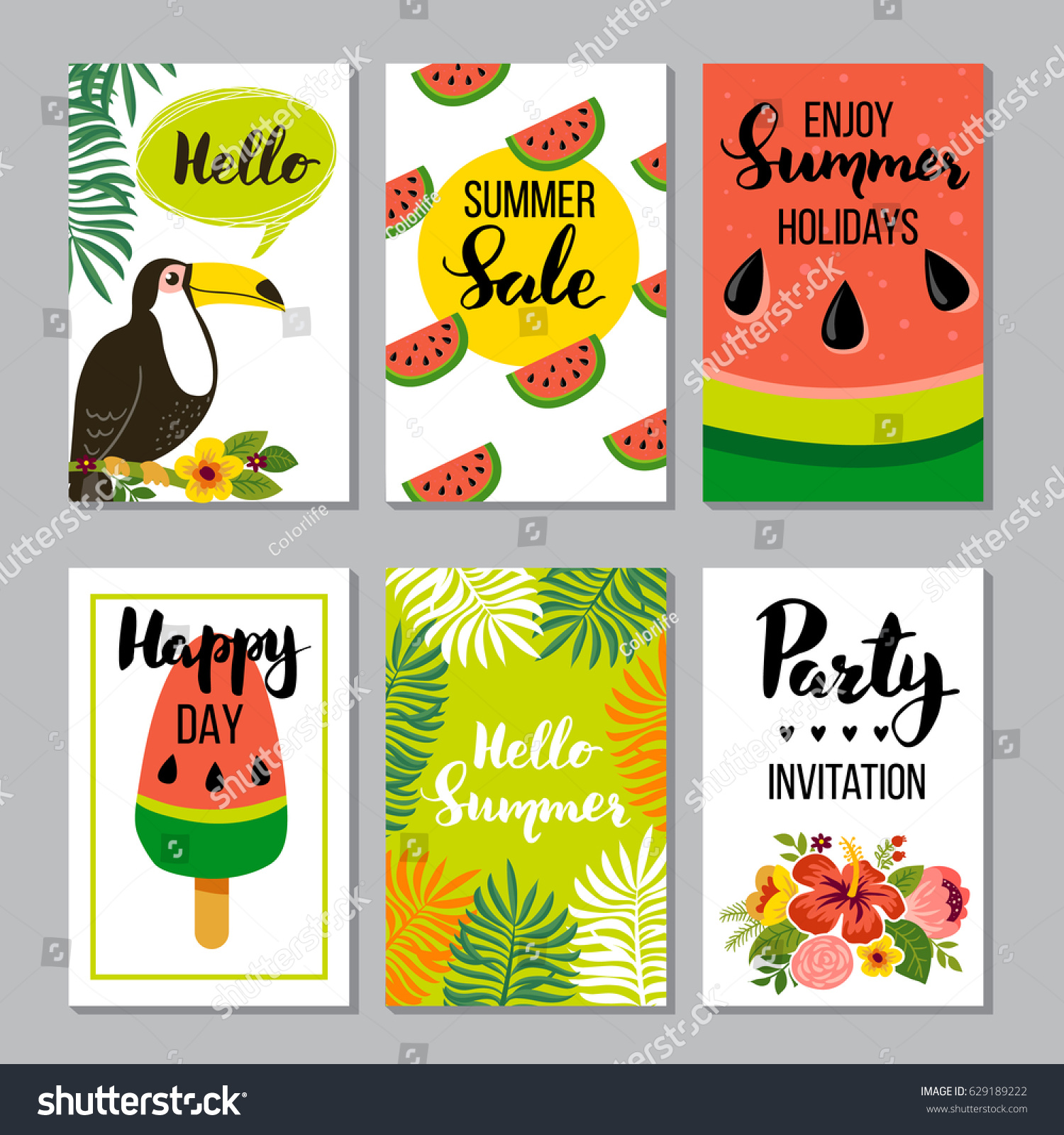 Summer card set elements quotes calligraphy stock vector