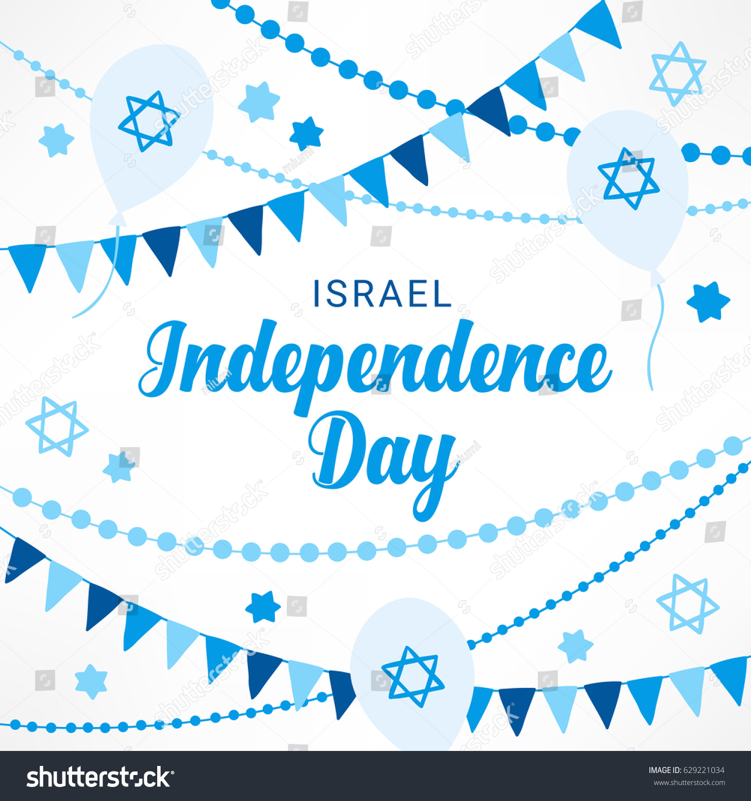 Israel Independence Day Greeting Card Garlands Stock Vector Royalty