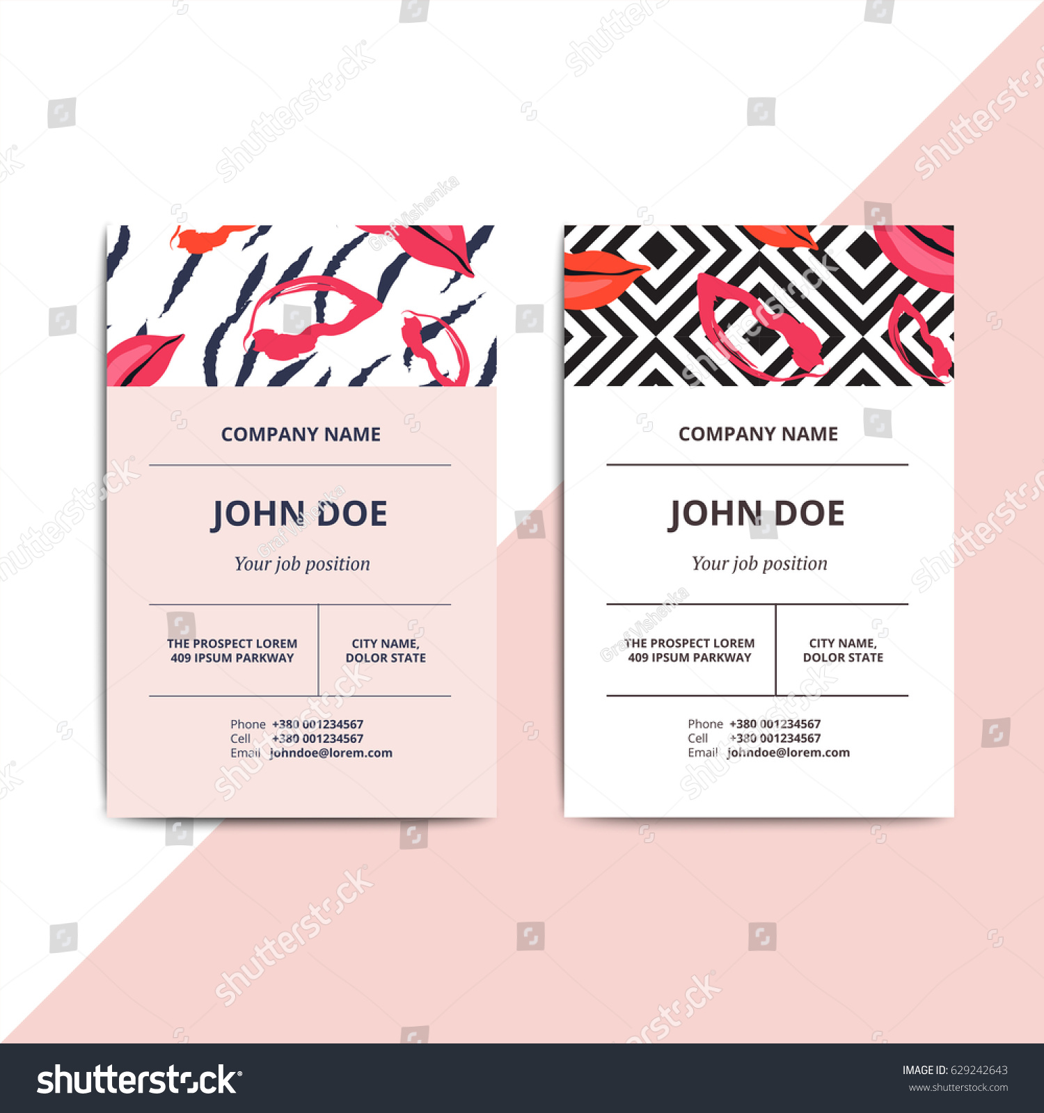 Trendy abstract business card templates modern stock vector trendy abstract business card templates modern luxury beauty salon or cosmetic shop layout with artistic magicingreecefo Images