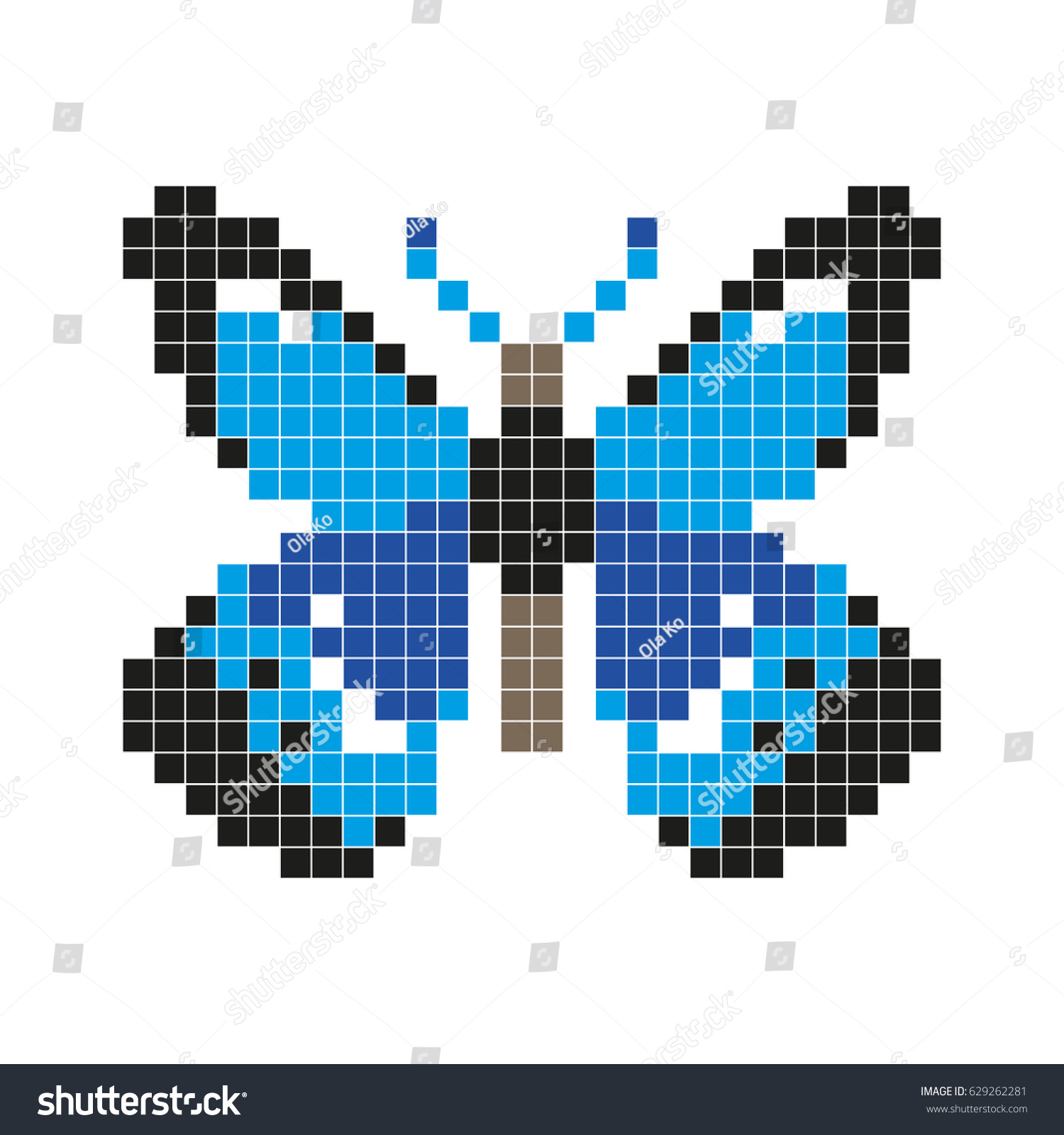 Blue Butterfly Pixel Art Style Vector Stock Vector (Royalty Free ...
