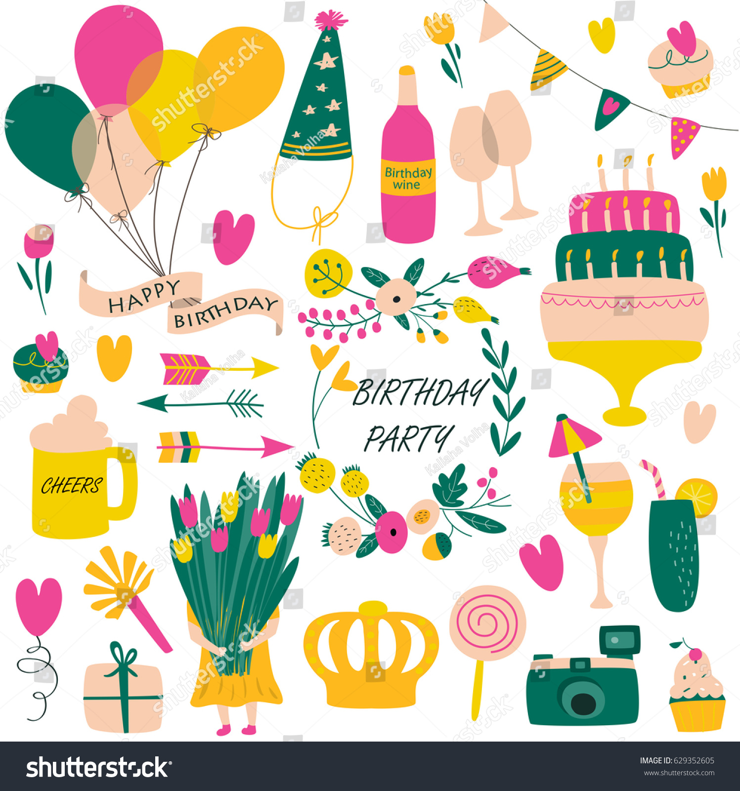 Vector Birthday Set Balloons Cakes Flowers Stock Vector Royalty