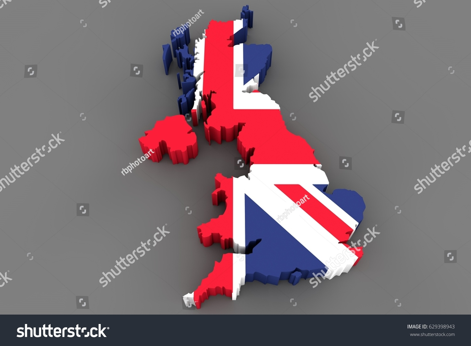Country Shape Great Britain 3d Render Stock Illustration 629398943 ...