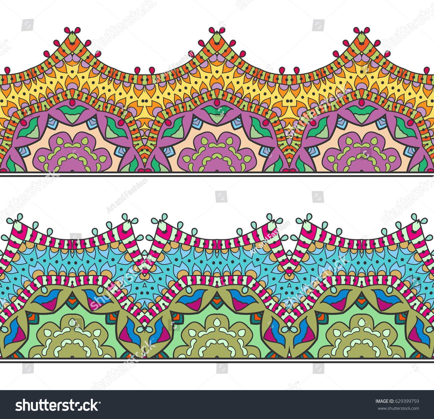Decorative Colorful Seamless Borders Set Tribal Stock Vector