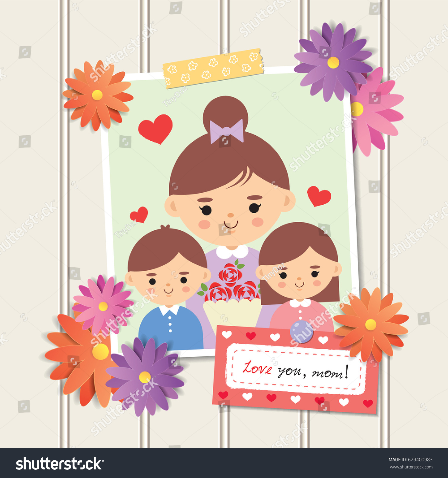 Happy Mothers Day Photo Cartoon Mother Stock Vector Royalty Free