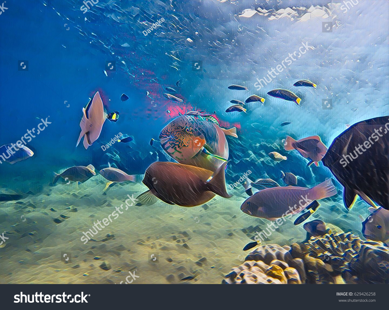 Underwater landscape coral fish sunshine sea stock illustration underwater landscape with coral fish sunshine sea shore wildlife digital illustration warm sea fish publicscrutiny Images