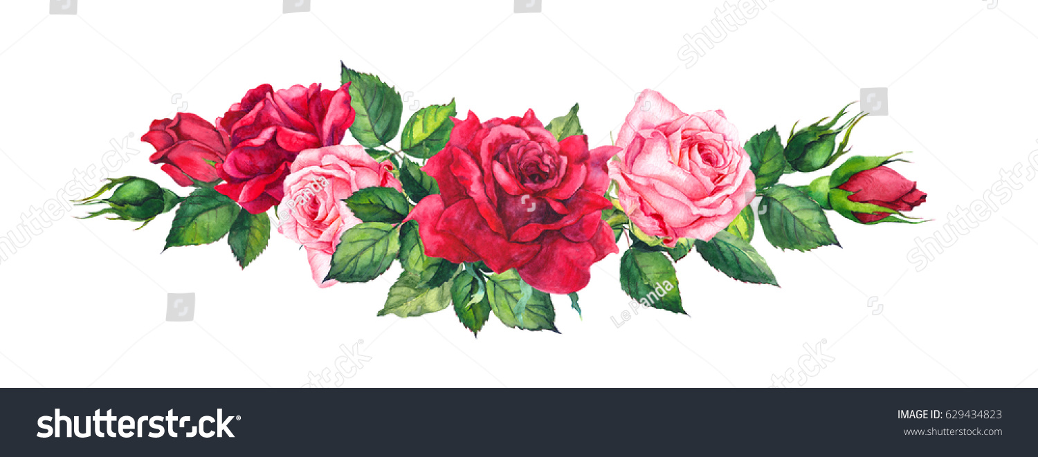 Royalty Free Stock Illustration Of Red Pink Roses Floral Border