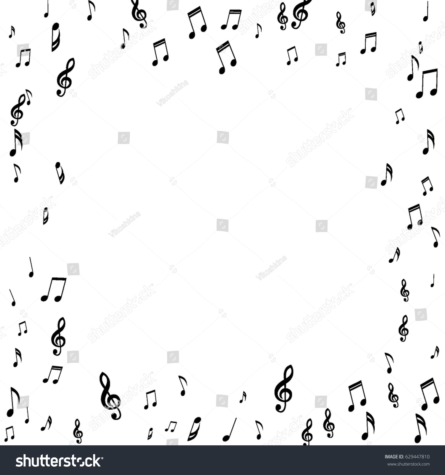 Square frame music notes treble bass stock vector 629447810 square frame of music notes treble and bass clefs black musical symbols on white background buycottarizona Choice Image