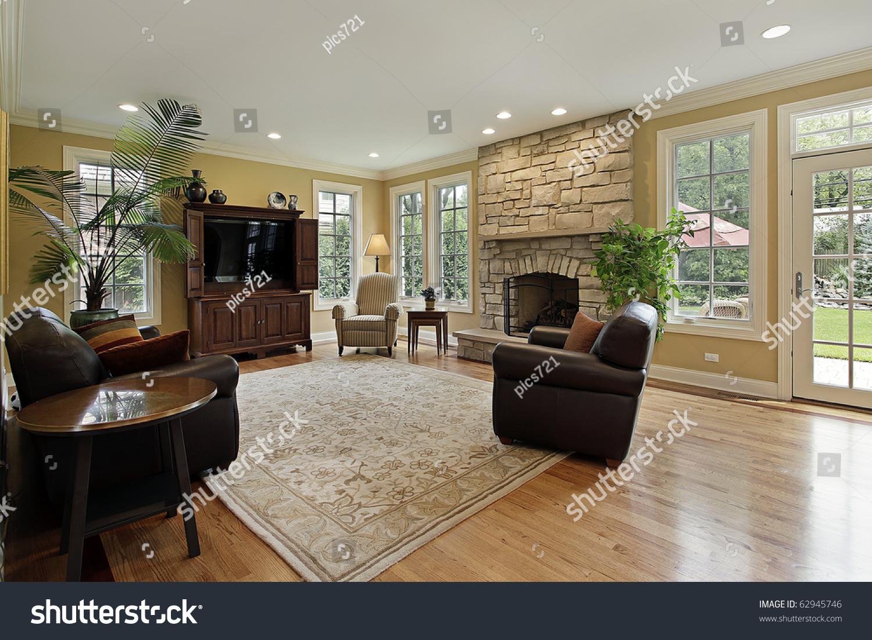 family room luxury home stone fireplace stock photo 62945746
