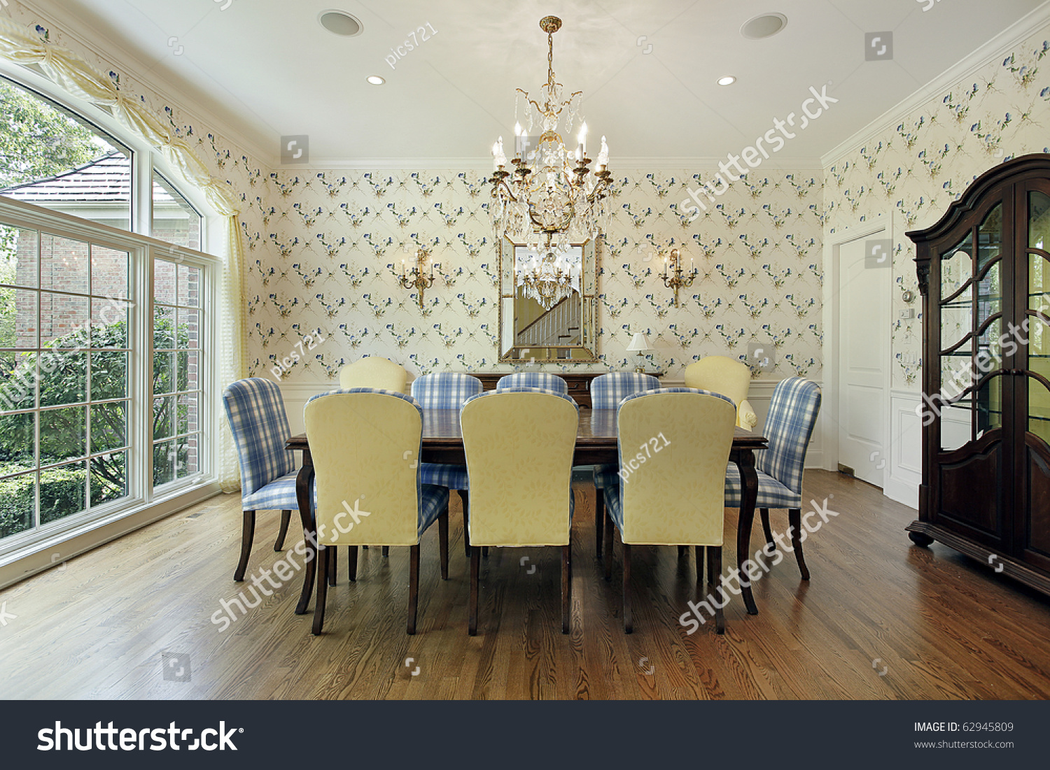 Dining Room Yellow Blue Plaid Chairs Stock Photo 62945809